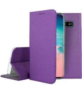 """Violetinis atverčiamas dėklas Samsung Galaxy S10 telefonui """"Smart Book Magnet"""""""