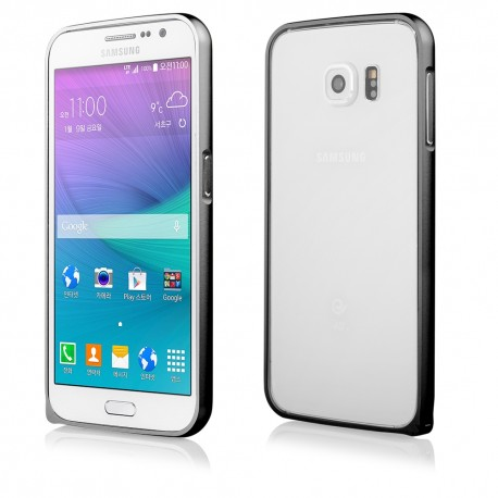 Juodas metalinis rėmelis - dėklas Samsung Galaxy S6 G920 telefonui