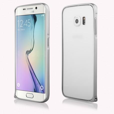 Sidabrinės spalvos metalinis rėmelis - dėklas Samsung Galaxy S6 Edge G925 telefonui