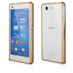 Auksinės spalvos metalinis rėmelis Sony Xperia Z3 compact telefonui