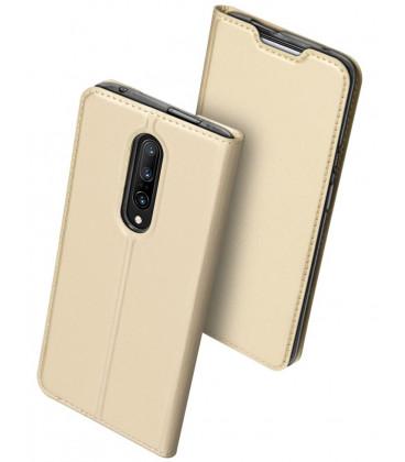 """Auksinės spalvos atverčiamas dėklas Oneplus 7 Pro telefonui """"Dux Ducis Skin"""""""