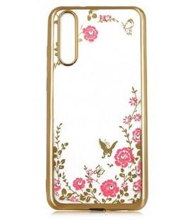 """Auksinės spalvos dėklas Huawei P20 telefonui """"Flower"""""""