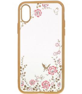 """Auksinės spalvos dėklas Apple iPhone X telefonui """"Flower"""""""