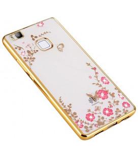 """Auksinės spalvos dėklas Huawei P10 Lite telefonui """"Flower"""""""