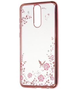 """Rausvai auksinės spalvos dėklas Huawei Mate 10 Lite telefonui """"Flower"""""""