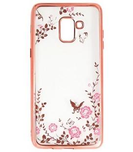 """Rausvai auksinės spalvos dėklas Samsung Galaxy S9 Plus telefonui """"Flower"""""""