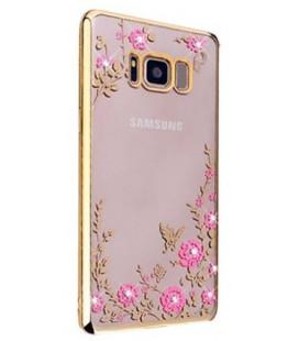 """Auksinės spalvos dėklas Samsung Galaxy S8 Plus telefonui """"Flower"""""""