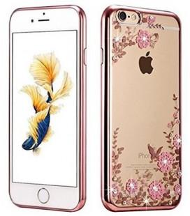 """Rausvai auksinės spalvos dėklas Apple iPhone 6/6s telefonui """"Flower"""""""