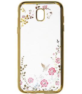 """Auksinės spalvos dėklas Samsung Galaxy J3 2017 telefonui """"Flower"""""""