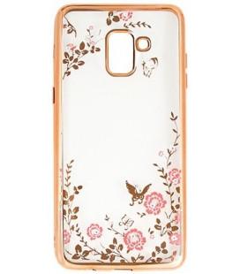 """Auksinės spalvos dėklas Samsung Galaxy A8 2018 telefonui """"Flower"""""""
