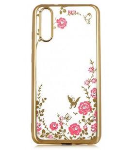 """Auksinės spalvos dėklas Huawei P20 Pro telefonui """"Flower"""""""