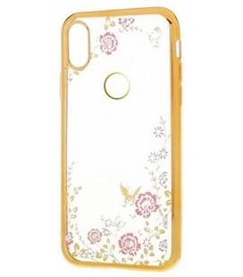 """Auksinės spalvos dėklas Huawei P20 Lite telefonui """"Flower"""""""