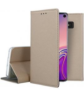 """Auksinės spalvos atverčiamas dėklas Samsung Galaxy S10E telefonui """"Smart Book Magnet"""""""