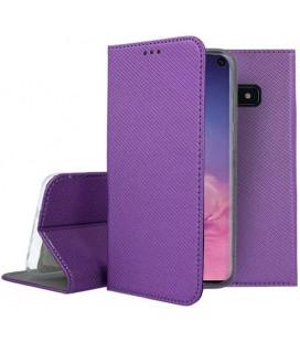 """Violetinis atverčiamas dėklas Samsung Galaxy S10E telefonui """"Smart Book Magnet"""""""