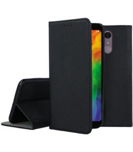 """Juodas atverčiamas dėklas LG Q7 telefonui """"Smart Book Magnet"""""""