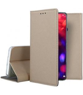 """Auksinės spalvos atverčiamas dėklas Huawei Honor View 20 telefonui """"Smart Book Magnet"""""""