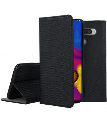 """Juodas atverčiamas dėklas LG V40 ThinQ telefonui """"Smart Book Magnet"""""""