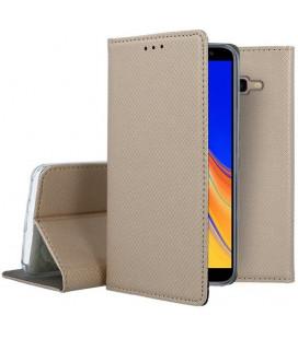 """Auksinės spalvos atverčiamas dėklas Samsung Galaxy J4 Plus 2018 telefonui """"Smart Book Magnet"""""""