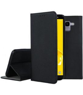 """Juodas atverčiamas dėklas Samsung Galaxy J6 2018 telefonui """"Smart Book Magnet"""""""