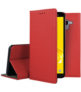 """Raudonas atverčiamas dėklas Samsung Galaxy J6 2018 telefonui """"Smart Book Magnet"""""""