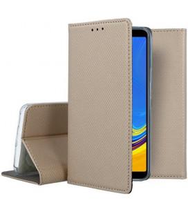 """Auksinės spalvos atverčiamas dėklas Samsung Galaxy A7 2018 telefonui """"Smart Book Magnet"""""""