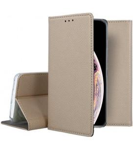 """Auksinės spalvos atverčiamas dėklas Apple iPhone XS Max telefonui """"Smart Book Magnet"""""""