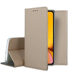 """Auksinės spalvos atverčiamas dėklas Apple iPhone XR telefonui """"Smart Book Magnet"""""""