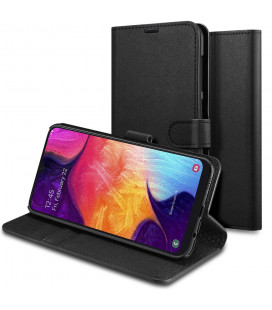 "Juodas atverčiamas dėklas Samsung Galaxy A50 telefonui ""Spigen La Manon Wallet"""