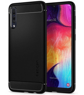 "Matinis juodas dėklas Samsung Galaxy A50 telefonui ""Spigen Rugged Armor"""