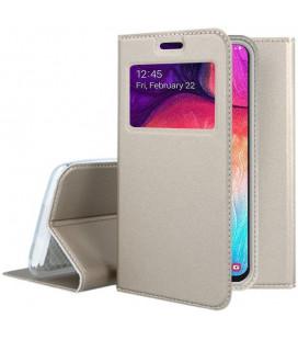 """Auksinės spalvos atverčiamas dėklas su langeliu Samsung Galaxy A50 telefonui """"Smart Look"""""""