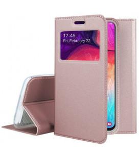 """Rausvai auksinės spalvos atverčiamas dėklas su langeliu Samsung Galaxy A50 telefonui """"Smart Look"""""""