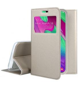 """Auksinės spalvos atverčiamas dėklas su langeliu Samsung Galaxy A40 telefonui """"Smart Look"""""""