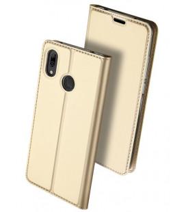 """Auksinės spalvos atverčiamas dėklas Huawei Y7 2019/Y7 Prime 2019 telefonui """"Dux Ducis Skin"""""""