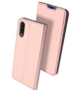 """Rausvai auksinės spalvos atverčiamas dėklas Samsung Galaxy A70 telefonui """"Dux Ducis Skin"""""""