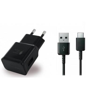 """Originalus Samsung juodas pakrovėjas 2A/1.67A ir USB Type C """"EP-TA200EBE + EP-DG970BBE"""""""