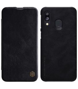 """Odinis juodas atverčiamas dėklas Samsung Galaxy A40 telefonui """"Nillkin Qin"""""""