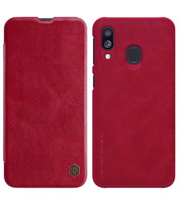 """Odinis raudonas atverčiamas dėklas Samsung Galaxy A40 telefonui """"Nillkin Qin"""""""