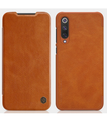 """Odinis rudas atverčiamas dėklas Xiaomi Mi9 SE telefonui """"Nillkin Qin"""""""