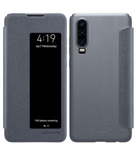 """Atverčiamas pilkas dėklas Huawei P30 telefonui """"Nillkin Sparkle S-View"""""""