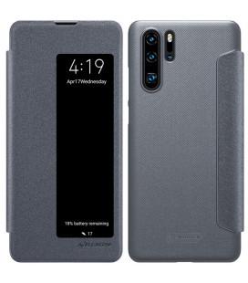 """Atverčiamas pilkas dėklas Huawei P30 Pro telefonui """"Nillkin Sparkle S-View"""""""