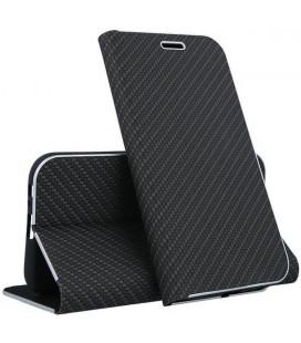 """Juodas atverčiamas Carbon dėklas Huawei P30 Lite telefonui """"Book Vennus Carbon Z"""""""