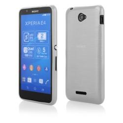 "Baltas silikoninis dėklas Sony Xperia E4g telefonui ""Jelly Metallic"""