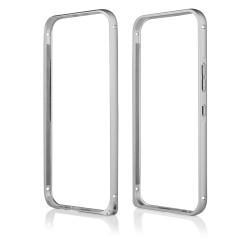 Sidabrinės spalvos metalinis rėmelis - dėklas HTC One M9 telefonui