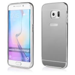 Sidabrinės spalvos metalinis rėmelis - dėklas su veidrodiniu dangteliu Samsung Galaxy S6 Edge Plus G930 telefonui