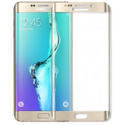Apsauginis grūdintas stiklas su rėmeliu auksinės spalvos Samsung Galaxy S6 Edge Plus telefonui