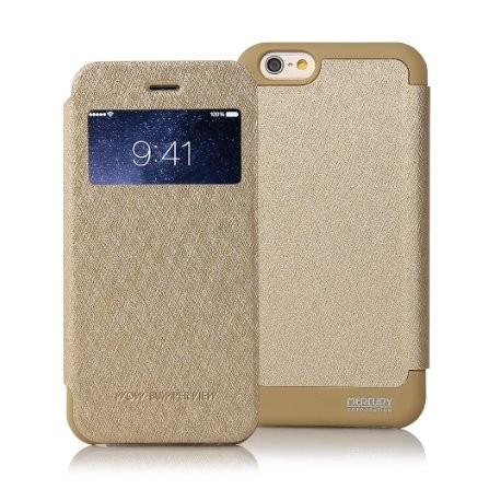 """Auksinės spalvos atverčiamas dėklas iPhone 6/6s telefonui """"WOW Bumper View Mercury"""""""