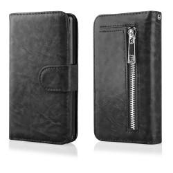 """Atverčiamas juodas dėklas - piniginė Samsung Galaxy Grand Prime G530 telefonui """"Qult Wallet Zipper"""""""