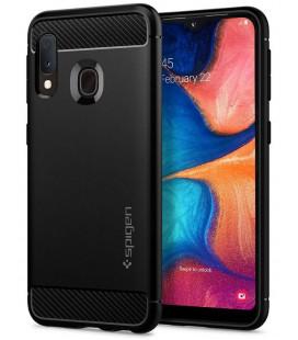 "Matinis juodas dėklas Samsung Galaxy A20E telefonui ""Spigen Rugged Armor"""