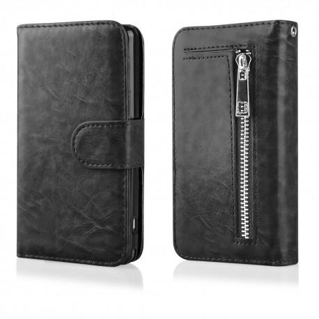"""Atverčiamas juodas dėklas - piniginė LG G4 H815 telefonui """"Qult Wallet Zipper"""""""