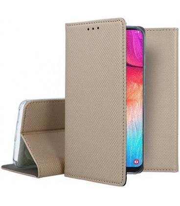 """Auksinės spalvos atverčiamas dėklas Samsung Galaxy A50 telefonui """"Smart Book Magnet"""""""